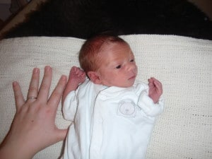 Our son at about 2 weeks old, only 4lb 3oz at birth.