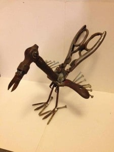 Iron chicken made from old tools that we made for a Christmas present.